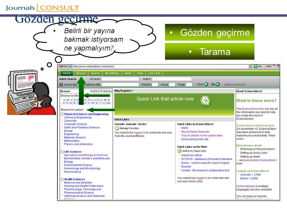 SD Makalelerini Kullanma Yetkili SD kullanıcıları abone olunan makaleleri yazdırabilir veya kaydedebilir Yetkili kurumlar lisanslı içeri ğ e link verebilirler, elektronik ders paketlerine veya e- rezerve listelerine tam metin linki verebilirler Kütüphane lisanslı içeri ğ e ana sayfada, kütüphane web sayfasında veya online katalog üzerinde link verebilir Yazarlar kendi web sitelerine veya kurumsal ar ş ivlerine yazılarının son versiyonunu koyabilirler Tam atıf bilgisini eklemek ve SD üzerinde dergiye link vermek ş artıyla