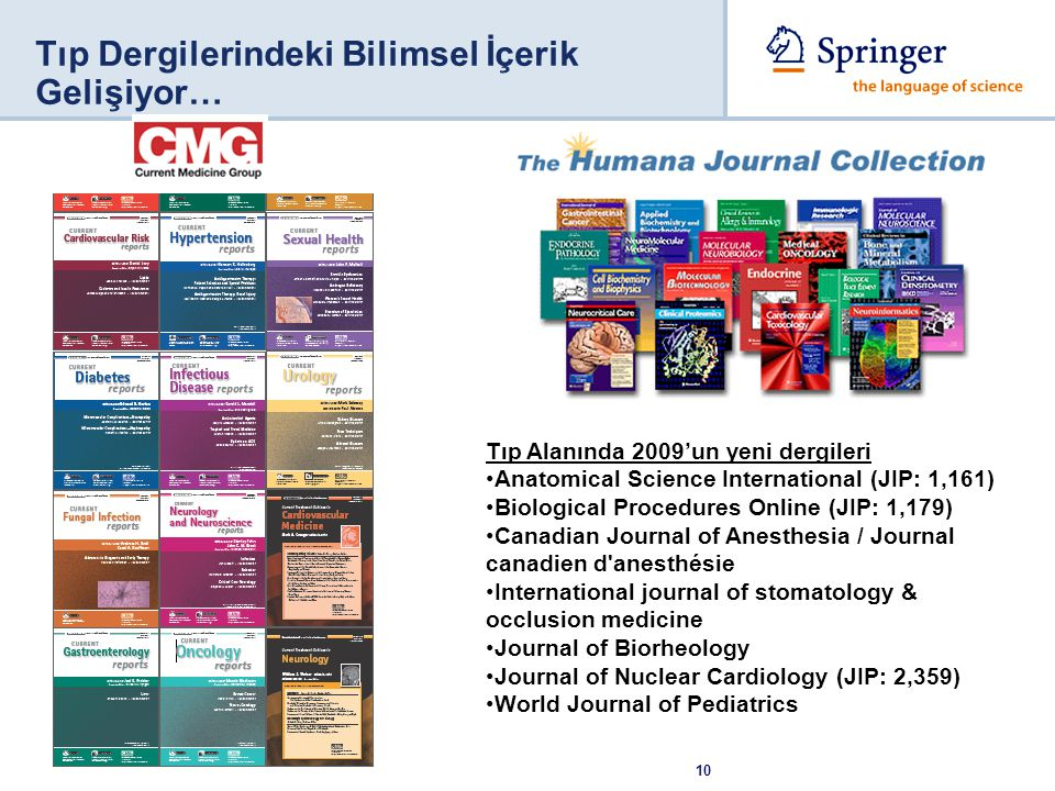 10 Tıp Dergilerindeki Bilimsel İçerik Gelişiyor… Tıp Alanında 2009'un yeni dergileri Anatomical Science International (JIP: 1,161) Biological Procedures Online (JIP: 1,179) Canadian Journal of Anesthesia / Journal canadien d anesthésie International journal of stomatology & occlusion medicine Journal of Biorheology Journal of Nuclear Cardiology (JIP: 2,359) World Journal of Pediatrics