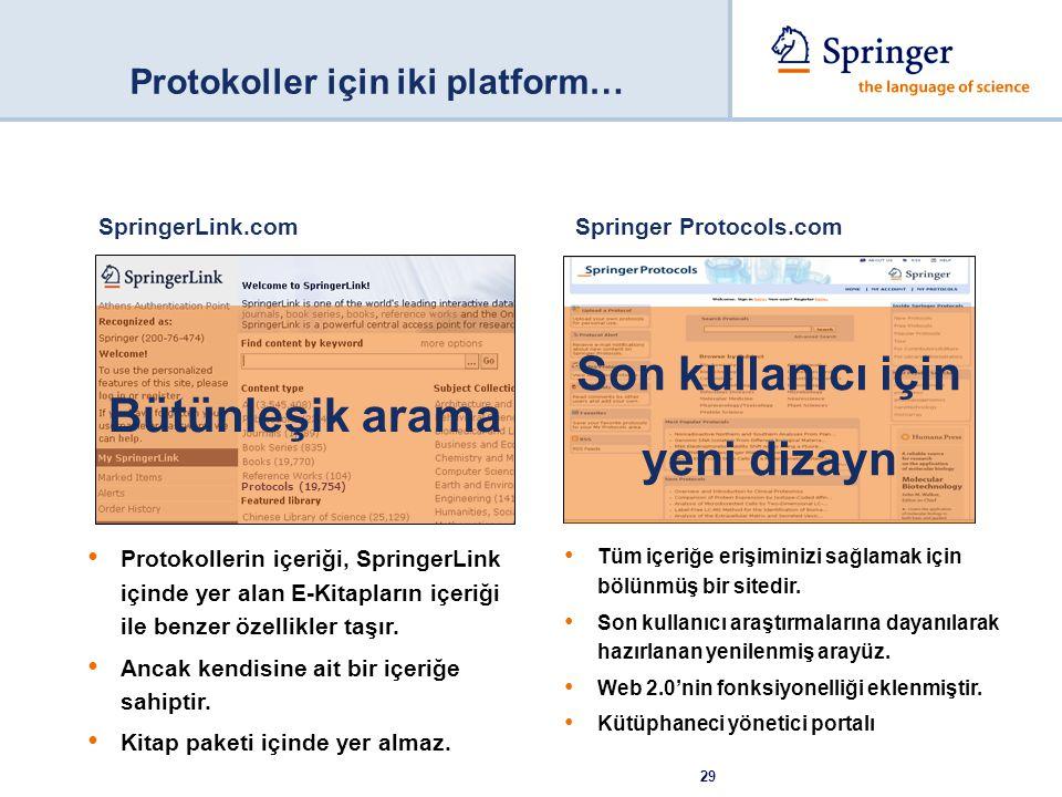 29 SpringerLink.com Protokollerin içeriği, SpringerLink içinde yer alan E-Kitapların içeriği ile benzer özellikler taşır. Ancak kendisine ait bir içer