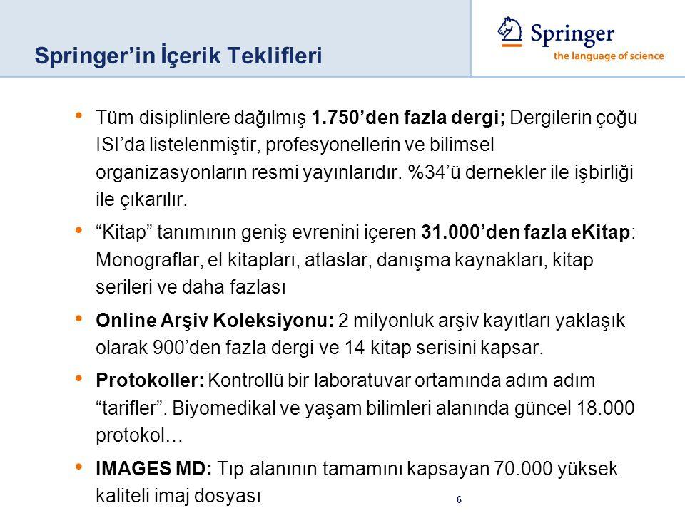 6 Springer'in İçerik Teklifleri Tüm disiplinlere dağılmış 1.750'den fazla dergi; Dergilerin çoğu ISI'da listelenmiştir, profesyonellerin ve bilimsel o