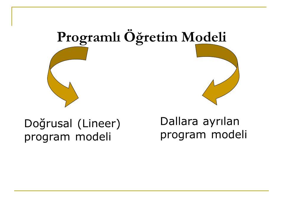 Programlı Öğretim Modeli Dallara ayrılan program modeli Doğrusal (Lineer) program modeli