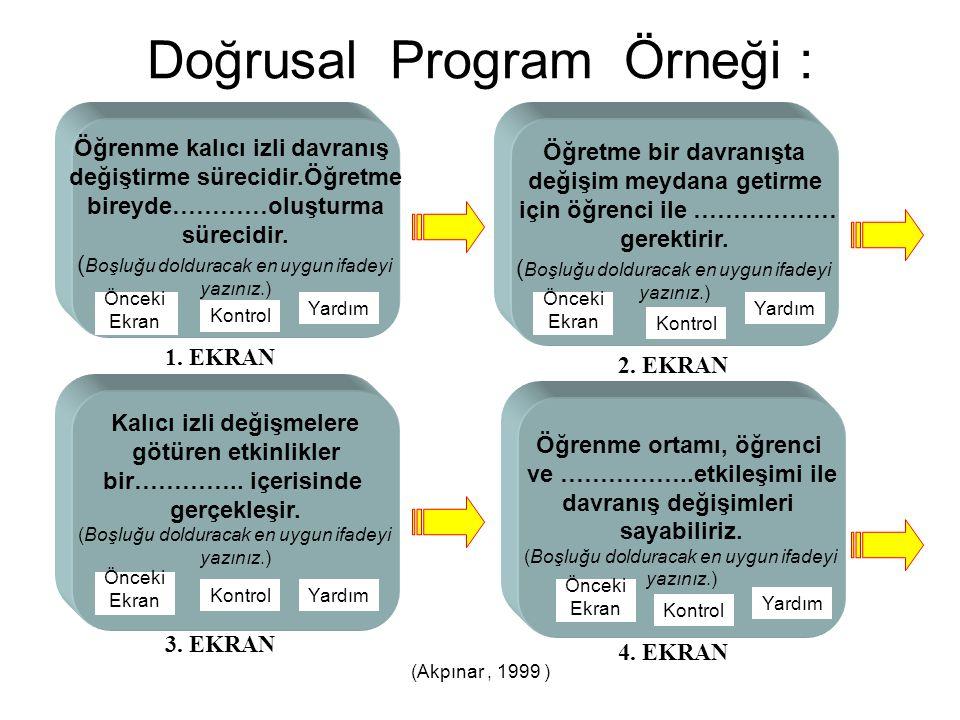 (Akpınar, 1999 ) Doğrusal Program Örneği : Öğrenme kalıcı izli davranış değiştirme sürecidir.Öğretme bireyde…………oluşturma sürecidir. ( Boşluğu doldura