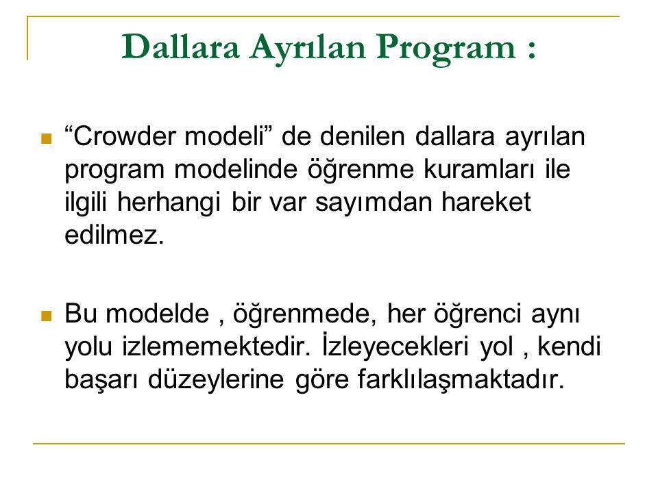 """Dallara Ayrılan Program : """"Crowder modeli"""" de denilen dallara ayrılan program modelinde öğrenme kuramları ile ilgili herhangi bir var sayımdan hareket"""