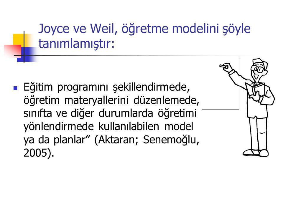 Joyce ve Weil, öğretme modelini şöyle tanımlamıştır: Eğitim programını şekillendirmede, öğretim materyallerini düzenlemede, sınıfta ve diğer durumlarda öğretimi yönlendirmede kullanılabilen model ya da planlar (Aktaran; Senemoğlu, 2005).