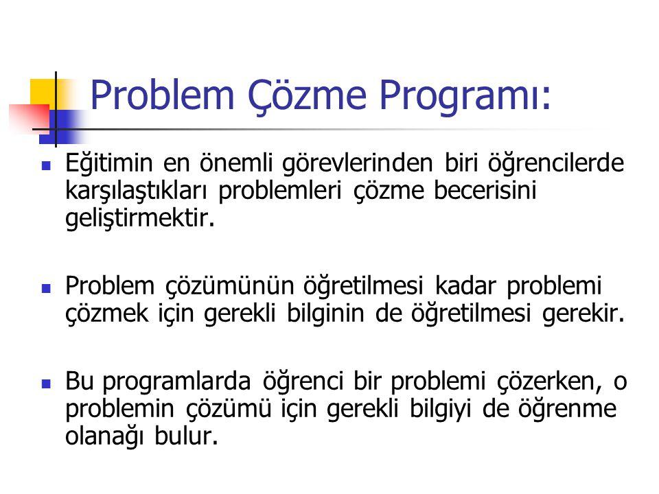 Problem Çözme Programı: Eğitimin en önemli görevlerinden biri öğrencilerde karşılaştıkları problemleri çözme becerisini geliştirmektir. Problem çözümü