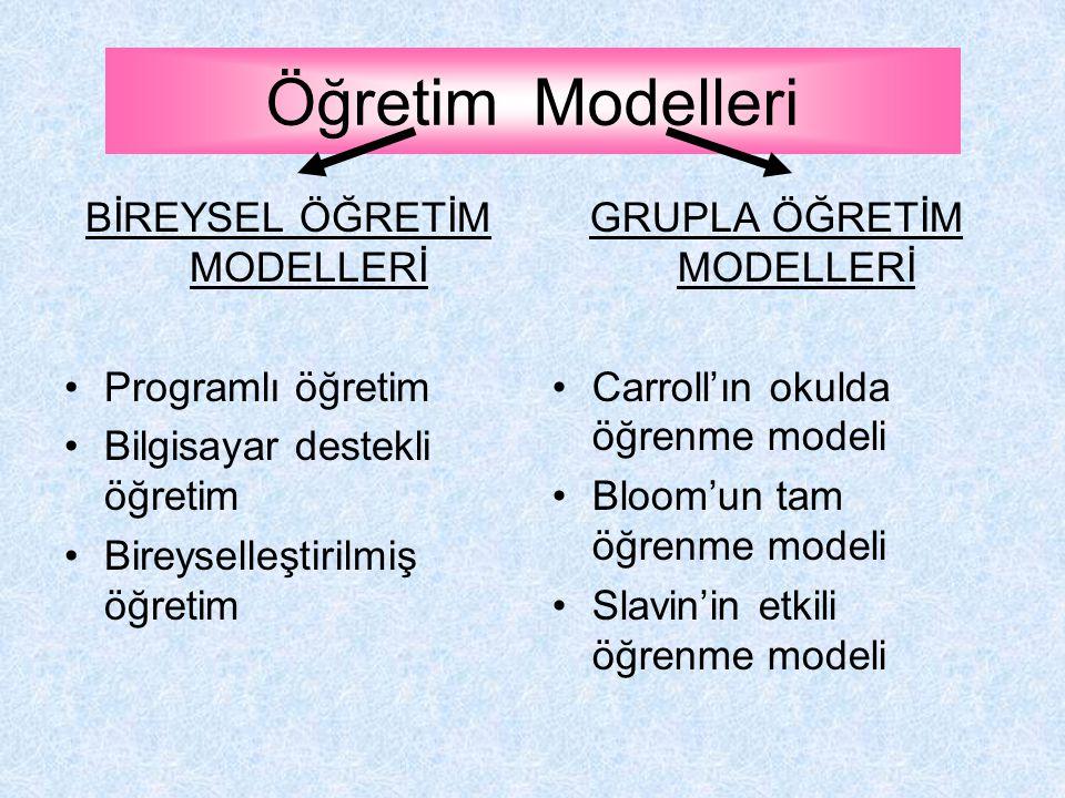 Öğretim Modelleri BİREYSEL ÖĞRETİM MODELLERİ Programlı öğretim Bilgisayar destekli öğretim Bireyselleştirilmiş öğretim GRUPLA ÖĞRETİM MODELLERİ Carroll'ın okulda öğrenme modeli Bloom'un tam öğrenme modeli Slavin'in etkili öğrenme modeli