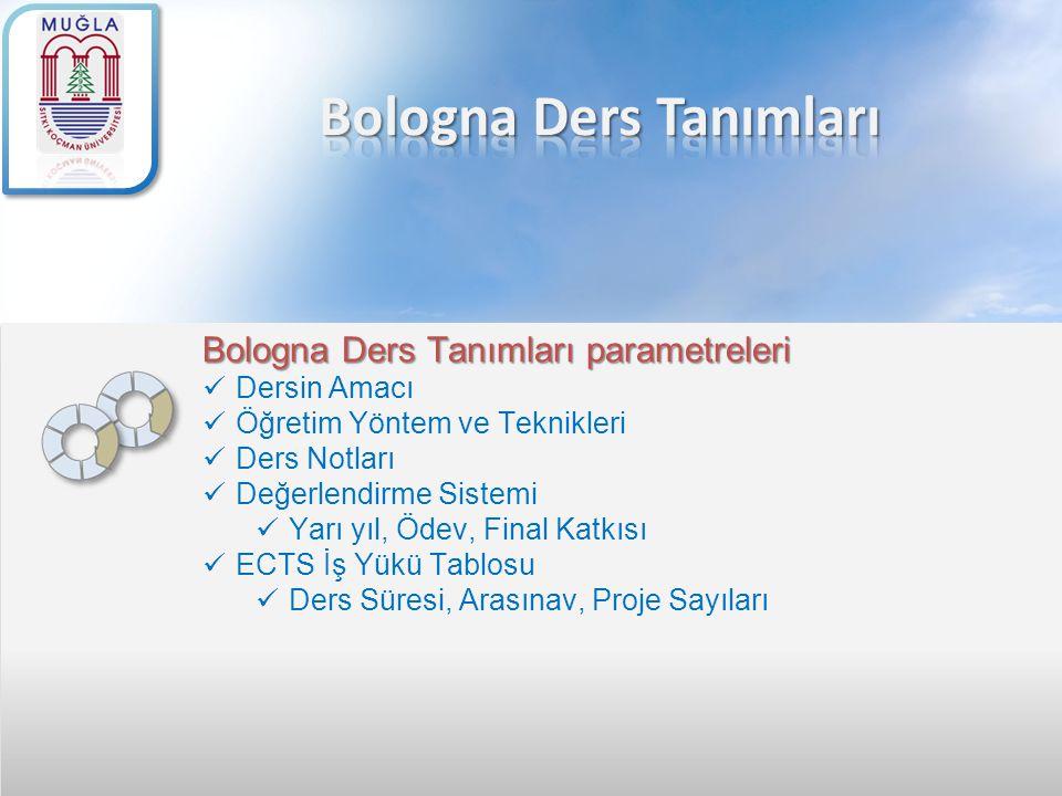 Bologna Ders Tanımları parametreleri Dersin Amacı Öğretim Yöntem ve Teknikleri Ders Notları Değerlendirme Sistemi Yarı yıl, Ödev, Final Katkısı ECTS İ