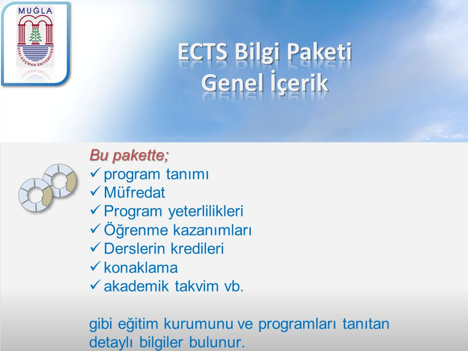 Bu pakette; program tanımı Müfredat Program yeterlilikleri Öğrenme kazanımları Derslerin kredileri konaklama akademik takvim vb. gibi eğitim kurumunu