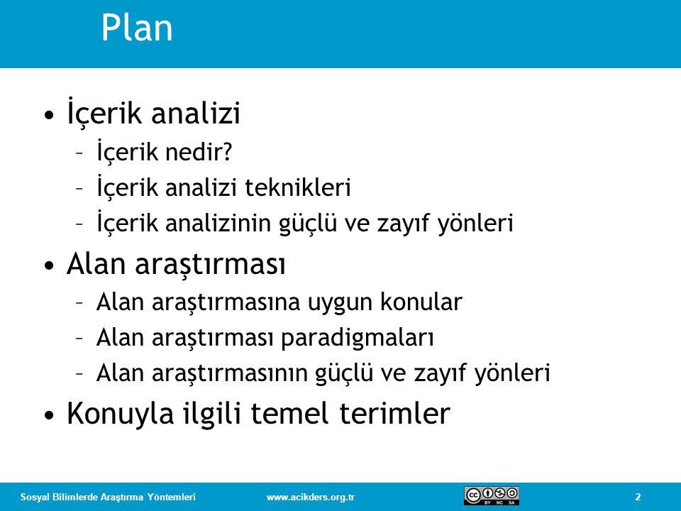 2Sosyal Bilimlerde Araştırma Yöntemleriwww.acikders.org.tr Plan İçerik analizi –İçerik nedir? –İçerik analizi teknikleri –İçerik analizinin güçlü ve z
