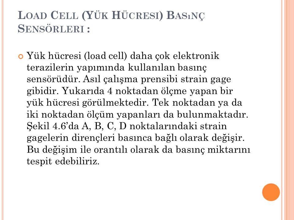 L OAD C ELL (Y ÜK H ÜCRESI ) B ASıNÇ S ENSÖRLERI : Yük hücresi (load cell) daha çok elektronik terazilerin yapımında kullanılan basınç sensörüdür. Ası