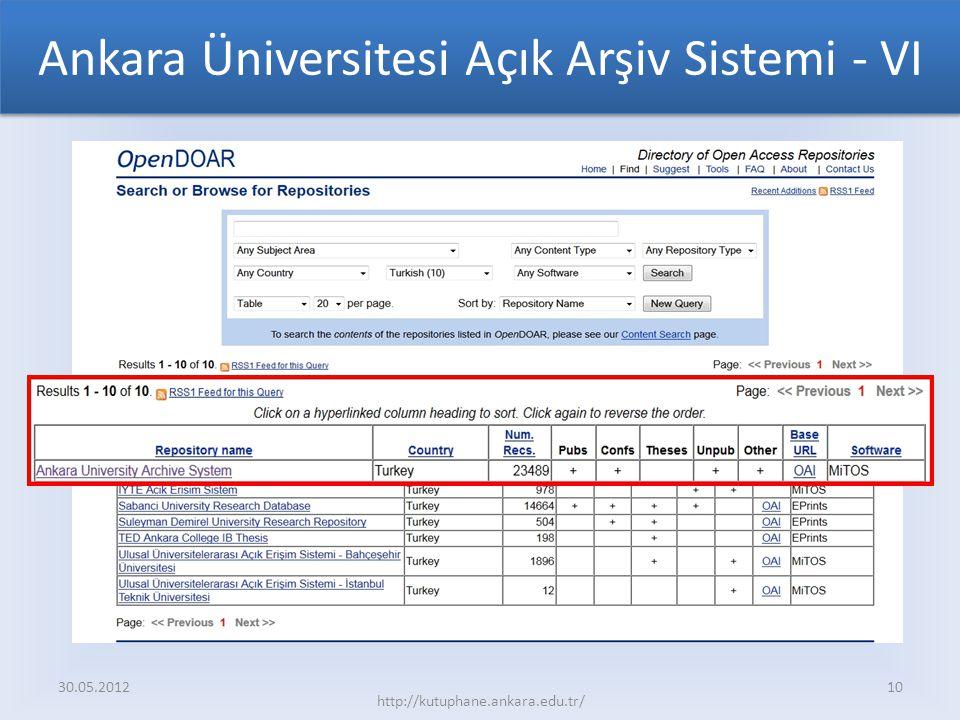 Ankara Üniversitesi Açık Arşiv Sistemi - VI 30.05.2012 http://kutuphane.ankara.edu.tr/ 10