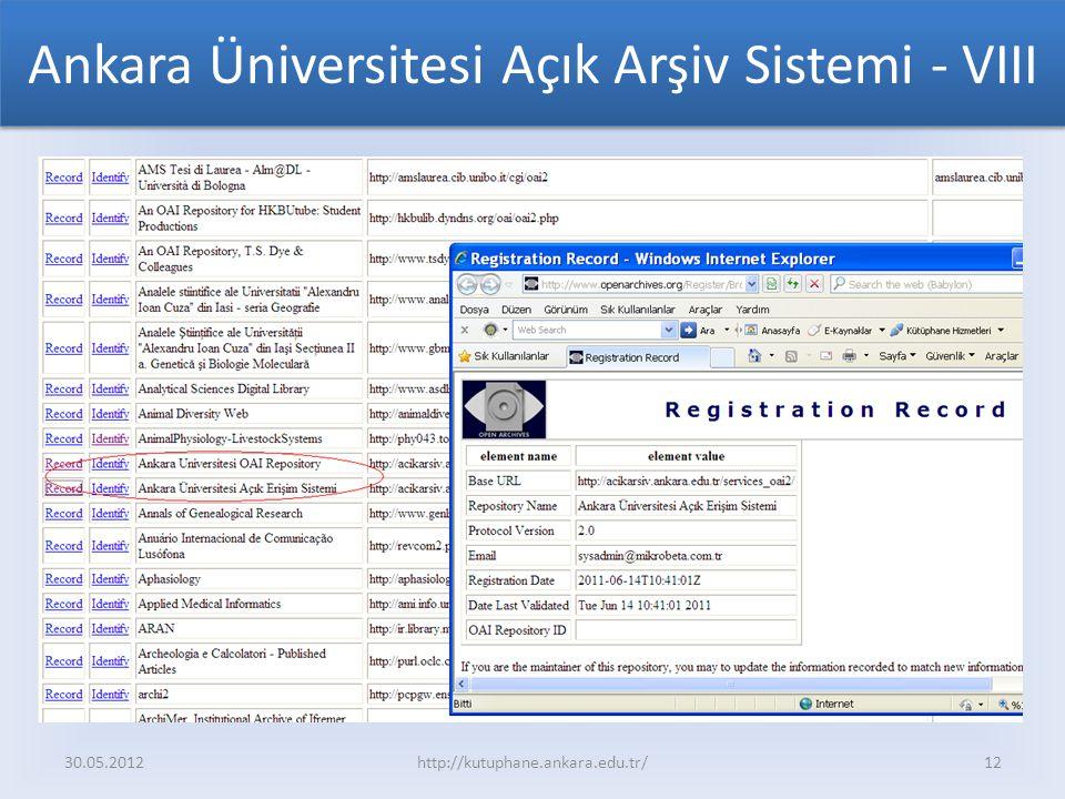 Ankara Üniversitesi Açık Arşiv Sistemi - VIII 30.05.2012http://kutuphane.ankara.edu.tr/12