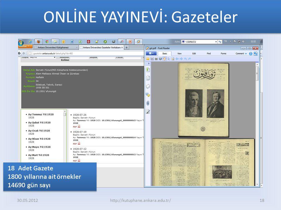 ONLİNE YAYINEVİ: Gazeteler 30.05.2012http://kutuphane.ankara.edu.tr/18 18 Adet Gazete 1800 yıllarına ait örnekler 14690 gün sayı