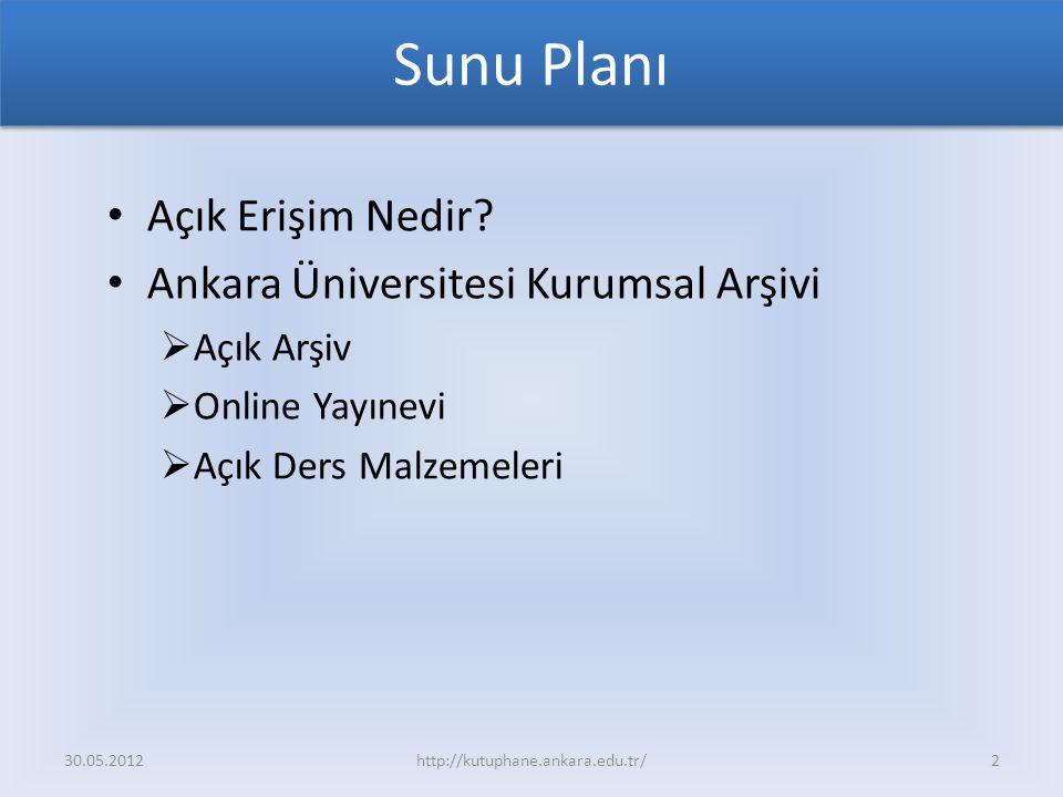 Sunu Planı Açık Erişim Nedir? Ankara Üniversitesi Kurumsal Arşivi  Açık Arşiv  Online Yayınevi  Açık Ders Malzemeleri 30.05.2012http://kutuphane.an