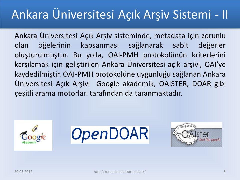 Ankara Üniversitesi Açık Arşiv Sistemi - II Ankara Üniversitesi Açık Arşiv sisteminde, metadata için zorunlu olan öğelerinin kapsanması sağlanarak sabit değerler oluşturulmuştur.