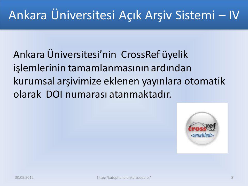 Ankara Üniversitesi Açık Arşiv Sistemi – IV Ankara Üniversitesi'nin CrossRef üyelik işlemlerinin tamamlanmasının ardından kurumsal arşivimize eklenen yayınlara otomatik olarak DOI numarası atanmaktadır.