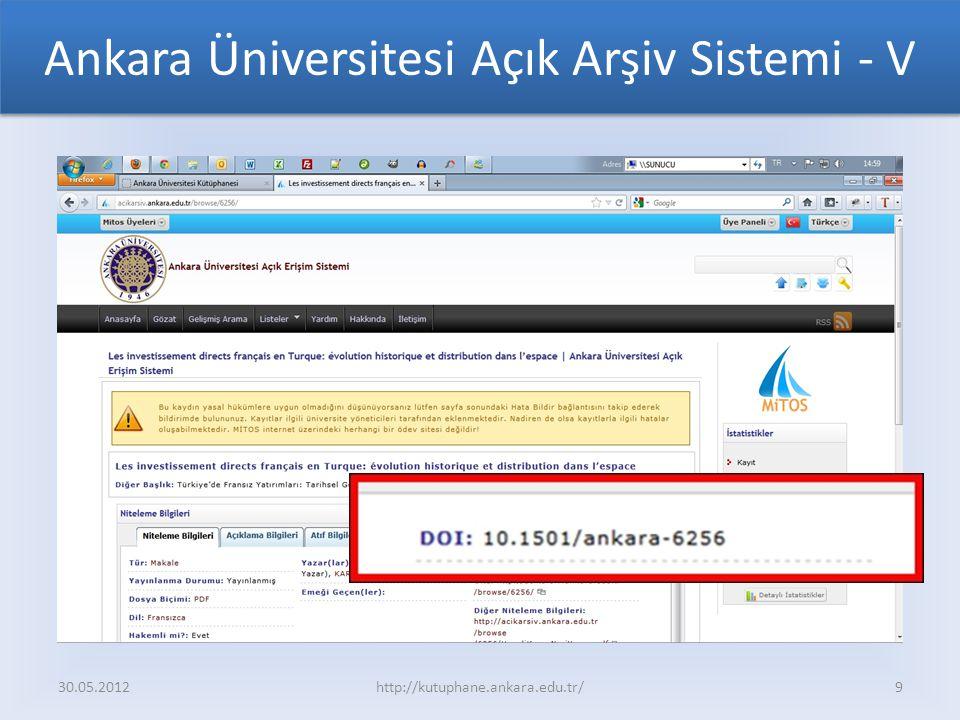 Ankara Üniversitesi Açık Arşiv Sistemi - V 30.05.2012http://kutuphane.ankara.edu.tr/9