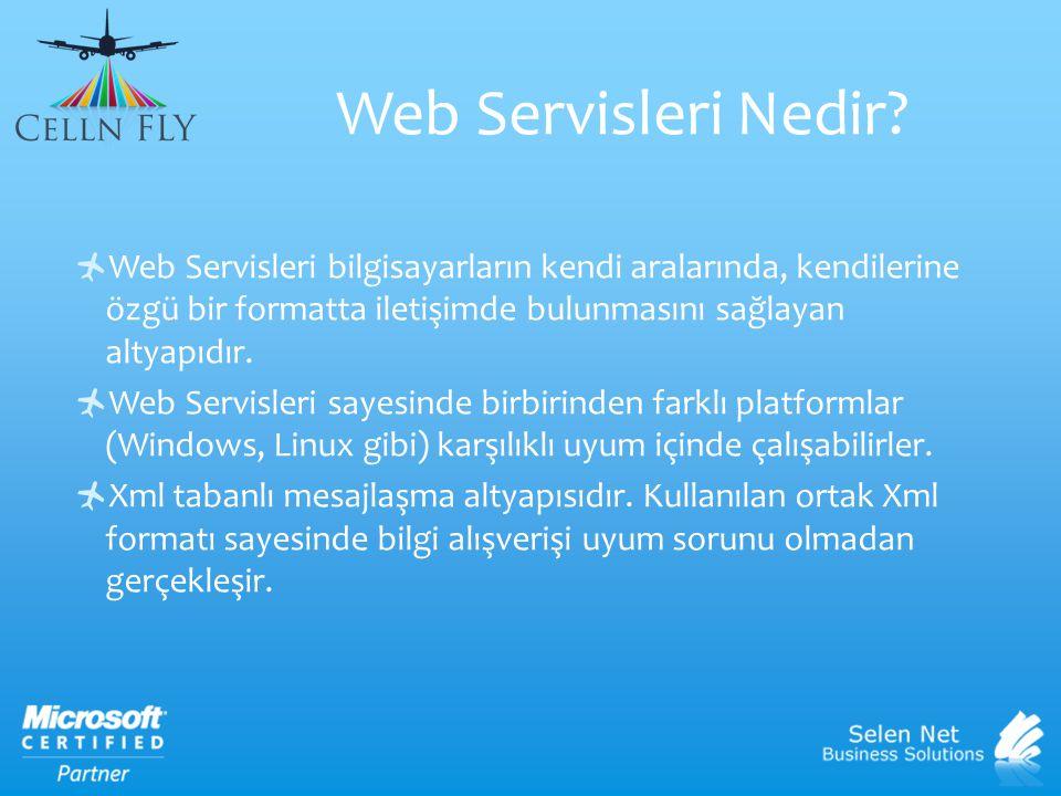 Web Servisleri Nedir?  Web Servisleri bilgisayarların kendi aralarında, kendilerine özgü bir formatta iletişimde bulunmasını sağlayan altyapıdır.  W