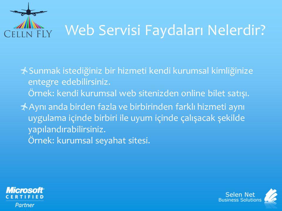 Web Servisi Faydaları Nelerdir?  Sunmak istediğiniz bir hizmeti kendi kurumsal kimliğinize entegre edebilirsiniz. Örnek: kendi kurumsal web sitenizde