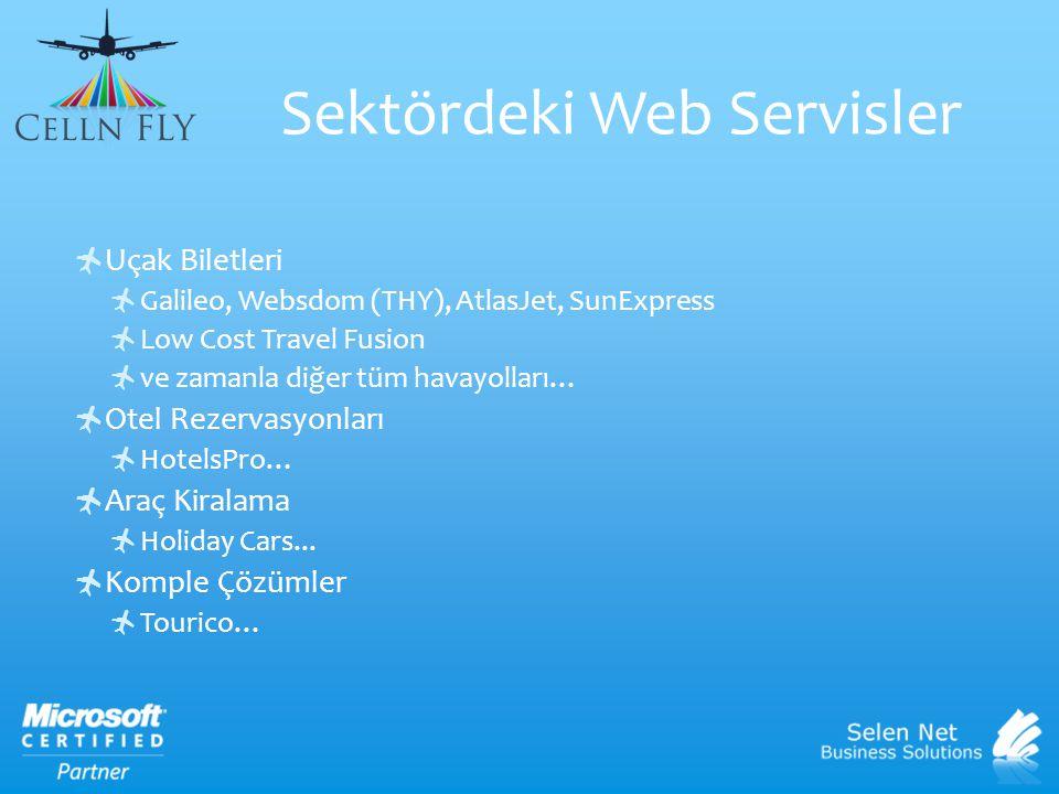 Sektördeki Web Servisler  Uçak Biletleri  Galileo, Websdom (THY), AtlasJet, SunExpress  Low Cost Travel Fusion  ve zamanla diğer tüm havayolları…