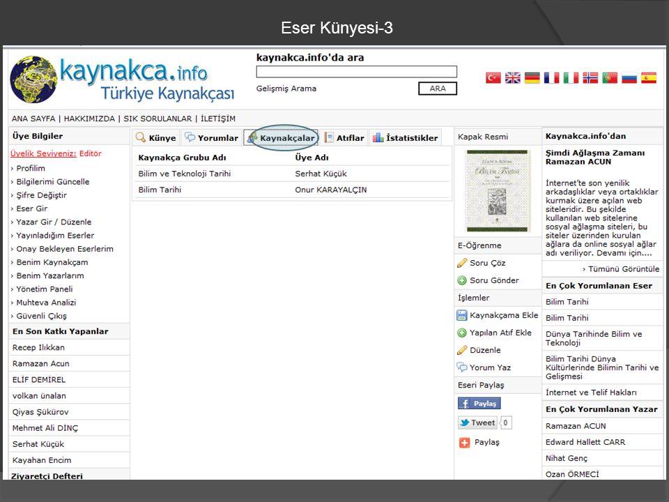 Eser Künyesi-3
