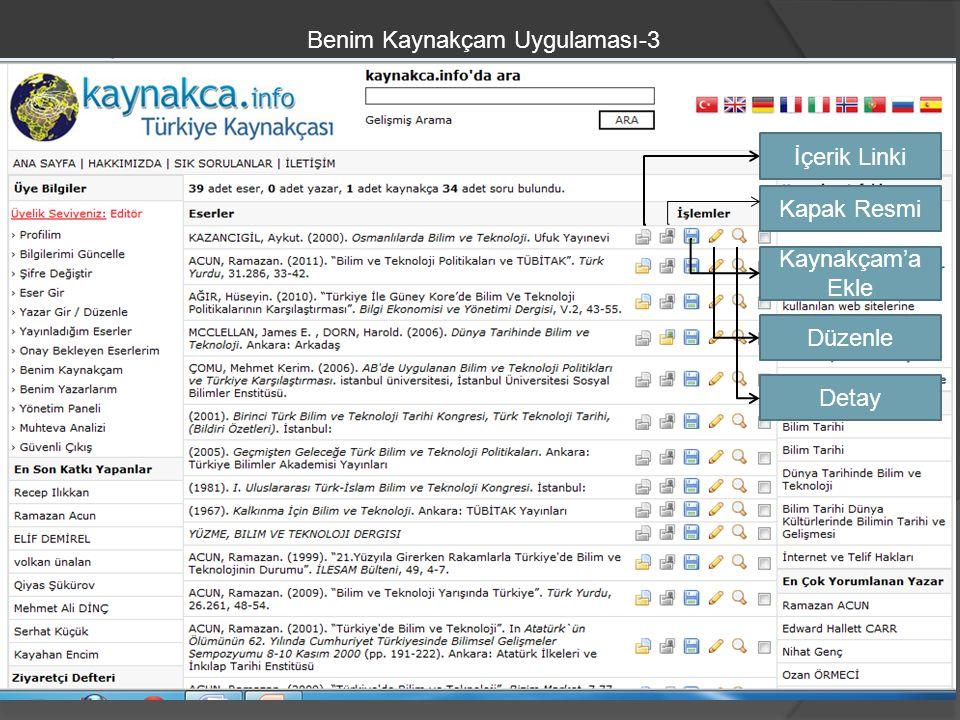 Benim Kaynakçam Uygulaması-3 İçerik Linki Kapak Resmi Kaynakçam'a Ekle Düzenle Detay