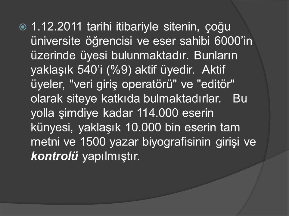  1.12.2011 tarihi itibariyle sitenin, çoğu üniversite öğrencisi ve eser sahibi 6000'in üzerinde üyesi bulunmaktadır. Bunların yaklaşık 540'i (%9) akt