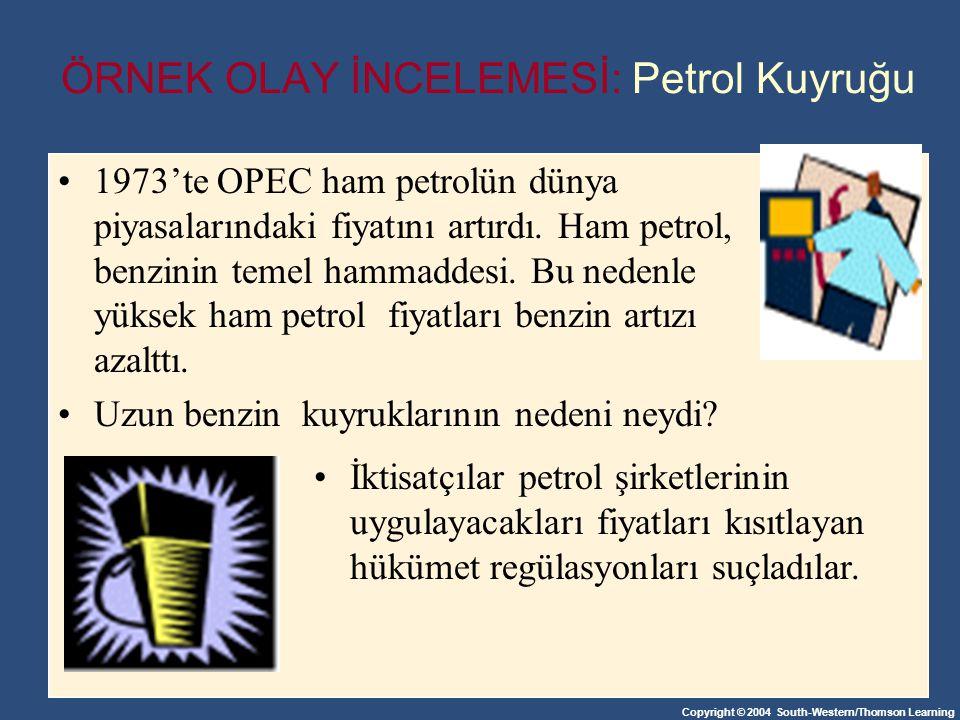 Copyright © 2004 South-Western/Thomson Learning 1973'te OPEC ham petrolün dünya piyasalarındaki fiyatını artırdı. Ham petrol, benzinin temel hammaddes
