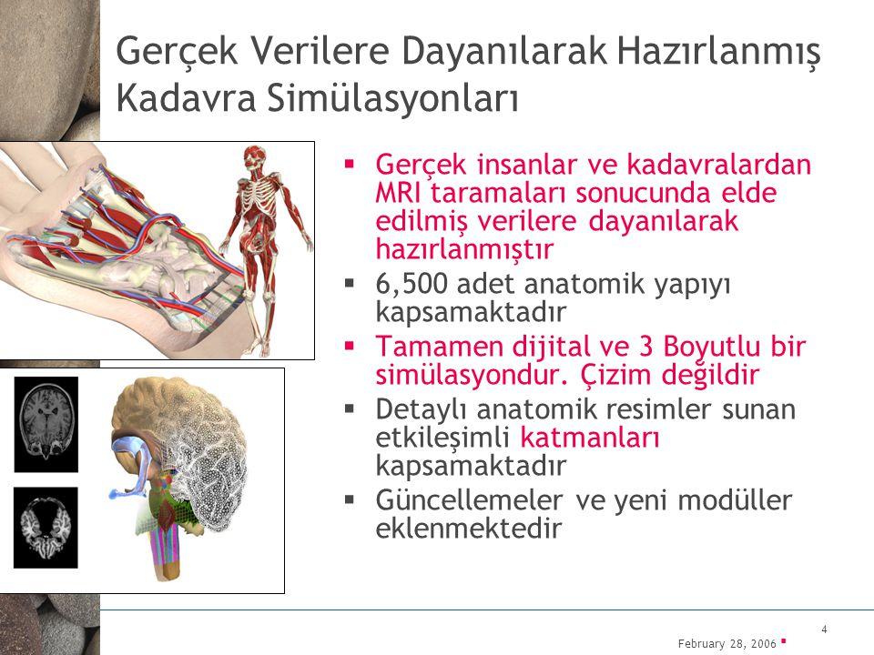 February 28, 2006 ▪ 5 Hem Öğrencilerin hem de Doktorların Faydalanabileceği Bir Kaynak  Vücudun tamamının görüntülenebilmesinin yanı sıra, vücudun 9 bölgesi de ayrıca detaylı olarak görüntülenebilmektedir (el, diz vs.)  Doktorlara özel modüller içermektedir  Anatomik yapılarla ilgili metinler de görüntülerle birlikte ekrana yansıtılabilmektedir.