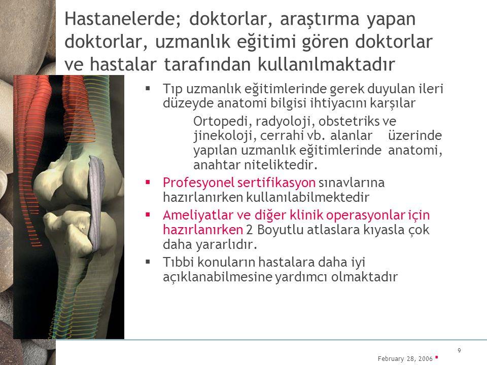 February 28, 2006 ▪ 9 Hastanelerde; doktorlar, araştırma yapan doktorlar, uzmanlık eğitimi gören doktorlar ve hastalar tarafından kullanılmaktadır  T