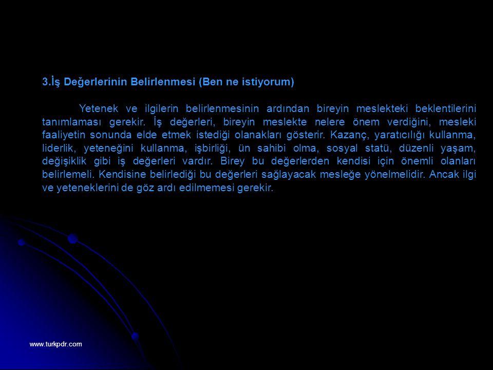 www.turkpdr.com 3.İş Değerlerinin Belirlenmesi (Ben ne istiyorum) Yetenek ve ilgilerin belirlenmesinin ardından bireyin meslekteki beklentilerini tanı