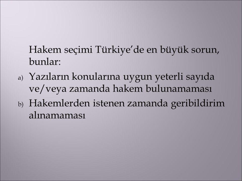 Hakem seçimi Türkiye'de en büyük sorun, bunlar: a) Yazıların konularına uygun yeterli sayıda ve/veya zamanda hakem bulunamaması b) Hakemlerden istenen