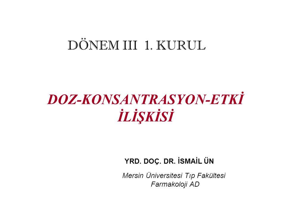 DOZ-KONSANTRASYON-ETKİ İLİŞKİSİ YRD. DOÇ. DR. İSMAİL ÜN Mersin Üniversitesi Tıp Fakültesi Farmakoloji AD DÖNEM III 1. KURUL