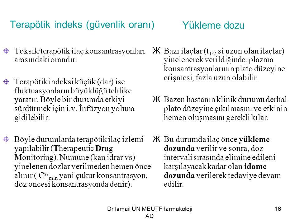 Dr İsmail ÜN MEÜTF farmakoloji AD 16 Terapötik indeks (güvenlik oranı) Toksik/terapötik ilaç konsantrasyonları arasındaki orandır. Terapötik indeksi k