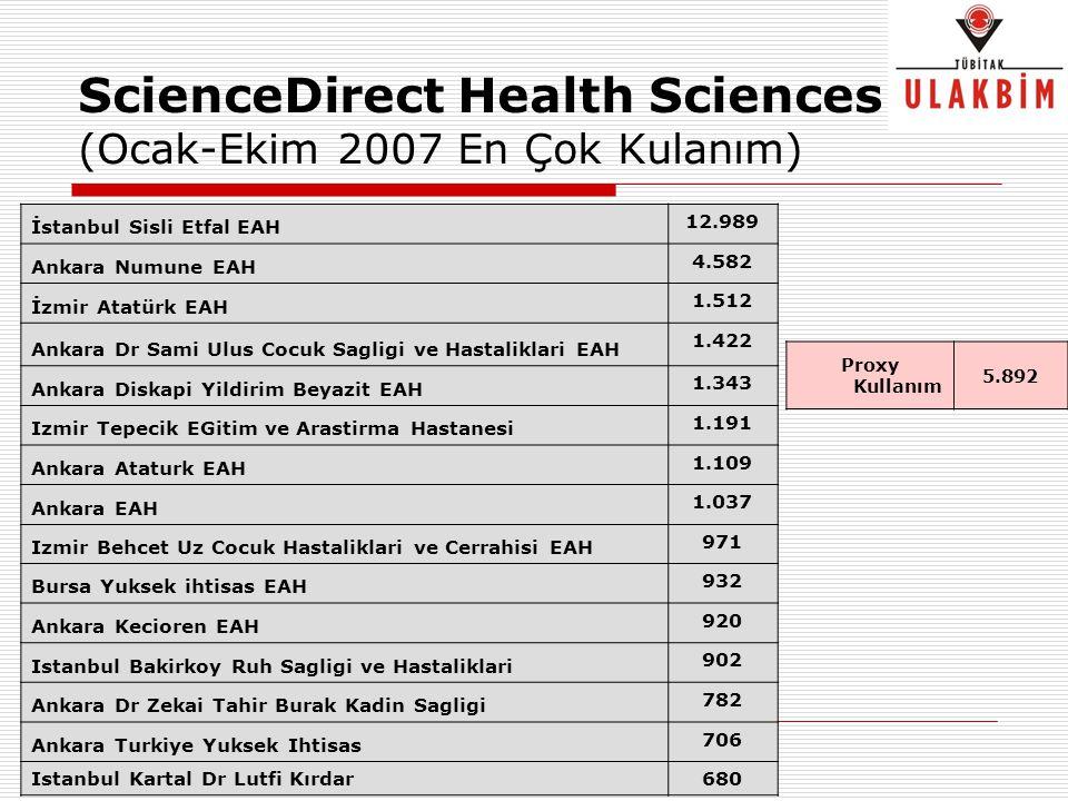 ScienceDirect Health Sciences (Ocak-Ekim 2007 En Çok Kulanım) İstanbul Sisli Etfal EAH 12.989 Ankara Numune EAH 4.582 İzmir Atatürk EAH 1.512 Ankara D