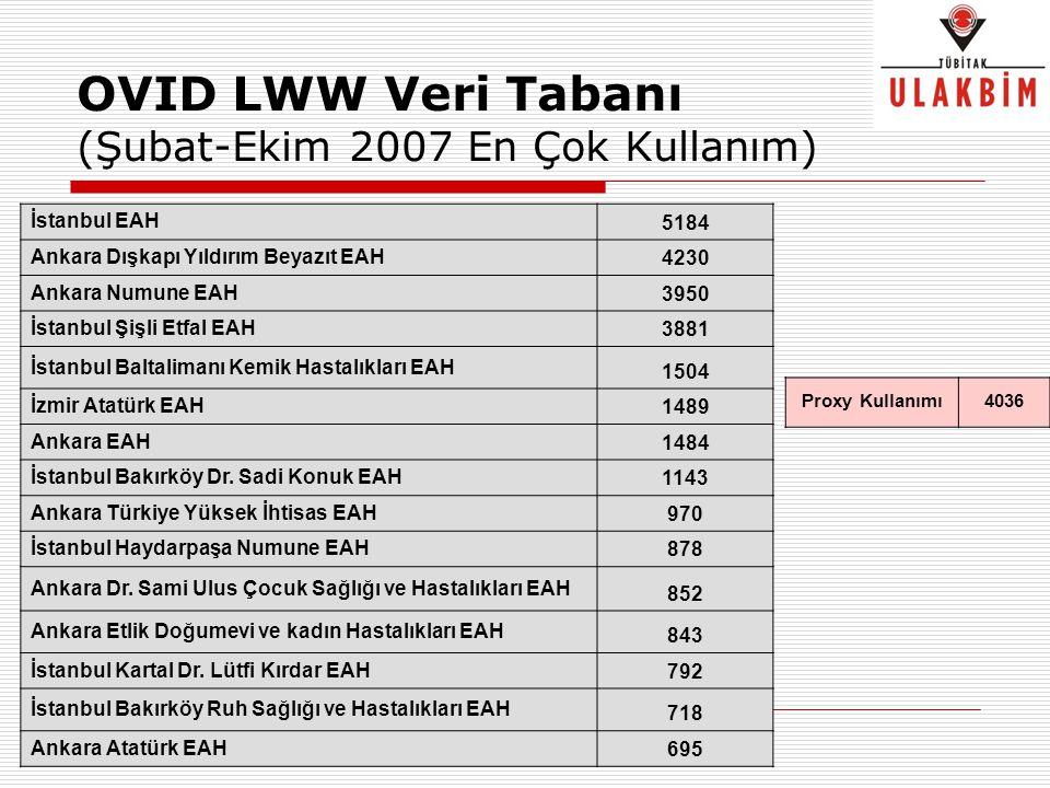 OVID LWW Veri Tabanı (Şubat-Ekim 2007 En Çok Kullanım) İstanbul EAH 5184 Ankara Dışkapı Yıldırım Beyazıt EAH 4230 Ankara Numune EAH 3950 İstanbul Şişl
