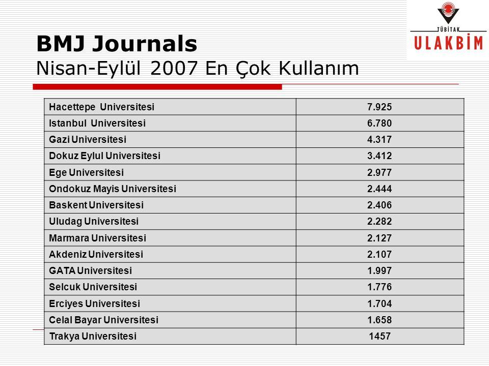 BMJ Journals Nisan-Eylül 2007 En Çok Kullanım Hacettepe Universitesi7.925 Istanbul Universitesi6.780 Gazi Universitesi4.317 Dokuz Eylul Universitesi3.