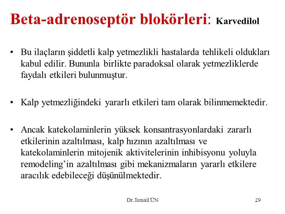 Dr. İsmail ÜN29 Beta-adrenoseptör blokörleri: Karvedilol Bu ilaçların şiddetli kalp yetmezlikli hastalarda tehlikeli oldukları kabul edilir. Bununla b