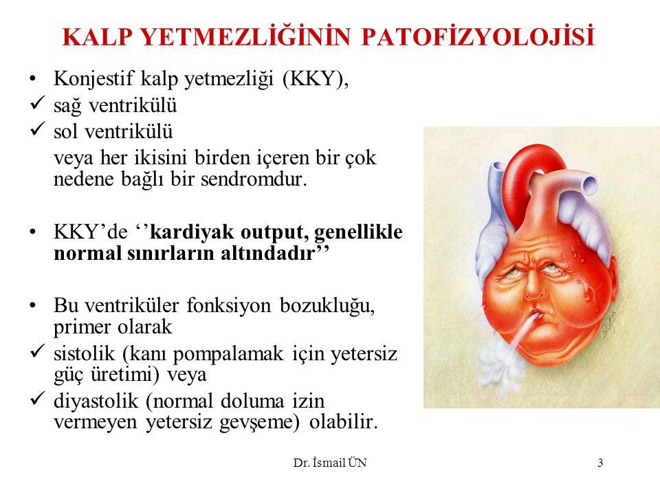 Dr. İsmail ÜN3 KALP YETMEZLİĞİNİN PATOFİZYOLOJİSİ Konjestif kalp yetmezliği (KKY), sağ ventrikülü sol ventrikülü veya her ikisini birden içeren bir ço