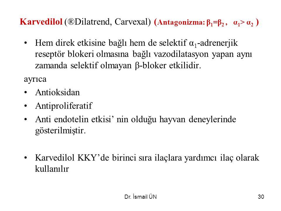 Dr. İsmail ÜN30 Karvedilol (®Dilatrend, Carvexal) ( Antagonizma: β 1 =β 2, α 1 > α 2 ) Hem direk etkisine bağlı hem de selektif α 1 -adrenerjik resept