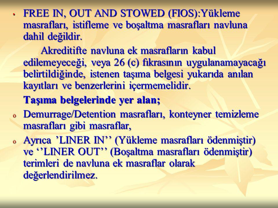 FREE IN, OUT AND STOWED (FIOS):Yükleme masrafları, istifleme ve boşaltma masrafları navluna dahil değildir. FREE IN, OUT AND STOWED (FIOS):Yükleme mas
