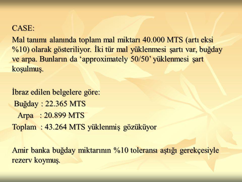 CASE: Mal tanımı alanında toplam mal miktarı 40.000 MTS (artı eksi %10) olarak gösteriliyor. İki tür mal yüklenmesi şartı var, buğday ve arpa. Bunları