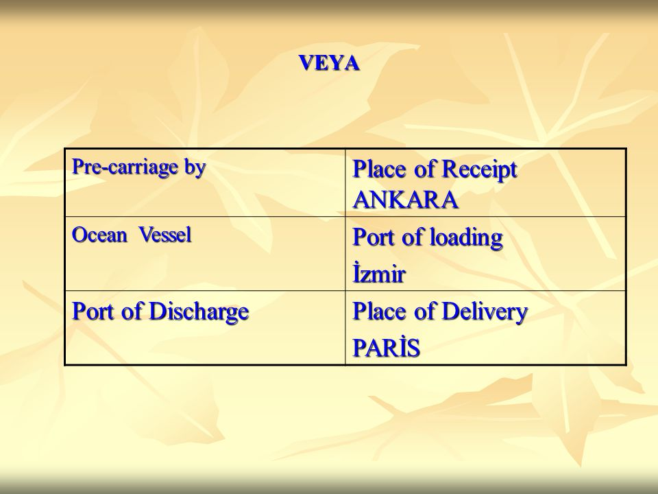 Pre-carriage by Place of Receipt ANKARA Ocean Vessel Port of loading İzmir Port of Discharge Place of Delivery PARİS VEYA