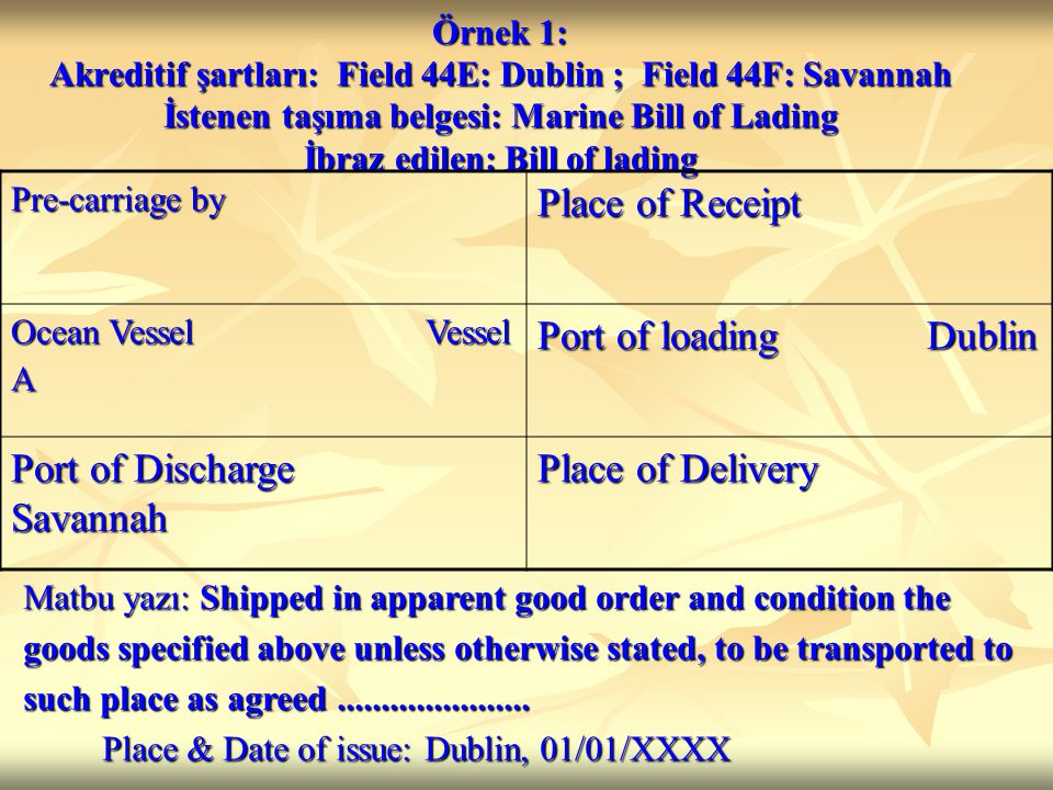 Örnek 1: Akreditif şartları: Field 44E: Dublin ; Field 44F: Savannah İstenen taşıma belgesi: Marine Bill of Lading İbraz edilen: Bill of lading Pre-carriage by Place of Receipt Ocean Vessel Vessel A Port of loading Dublin Port of Discharge Savannah Place of Delivery Matbu yazı: Shipped in apparent good order and condition the goods specified above unless otherwise stated, to be transported to such place as agreed......................