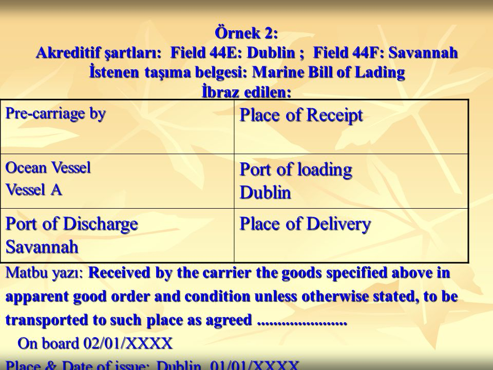 Örnek 2: Akreditif şartları: Field 44E: Dublin ; Field 44F: Savannah İstenen taşıma belgesi: Marine Bill of Lading İbraz edilen: Pre-carriage by Place of Receipt Ocean Vessel Vessel A Port of loading Dublin Port of Discharge Savannah Place of Delivery Matbu yazı: Received by the carrier the goods specified above in apparent good order and condition unless otherwise stated, to be transported to such place as agreed......................