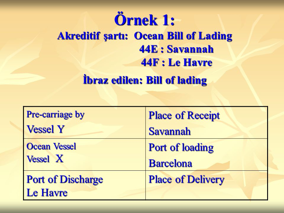 Örnek 1: Akreditif şartı: Ocean Bill of Lading 44E : Savannah 44F : Le Havre İbraz edilen: Bill of lading Pre-carriage by Vessel Y Place of Receipt Sa