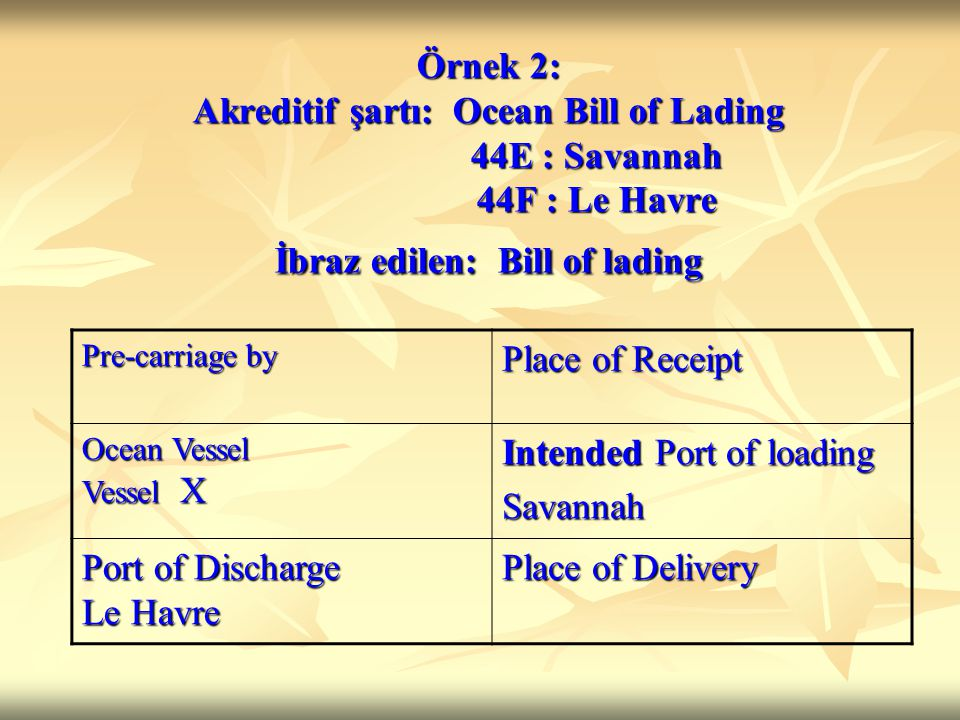 Örnek 2: Akreditif şartı: Ocean Bill of Lading 44E : Savannah 44F : Le Havre İbraz edilen: Bill of lading Pre-carriage by Place of Receipt Ocean Vesse