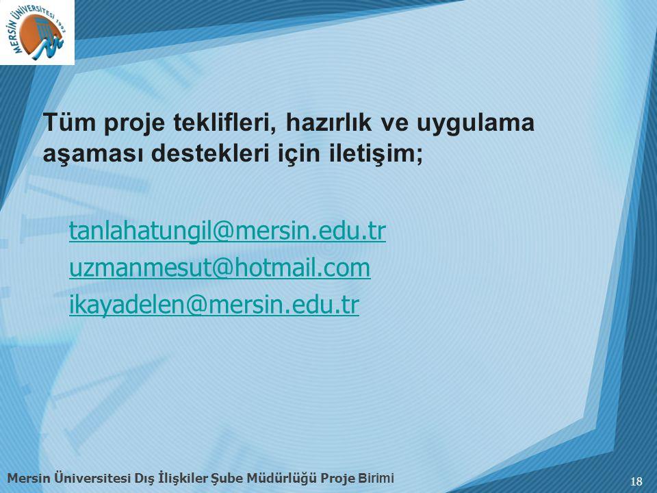 tanlahatungil@mersin.edu.tr uzmanmesut@hotmail.com ikayadelen@mersin.edu.tr 18 Mersin Üniversitesi Dış İlişkiler Şube Müdürlüğü Proje Birimi Tüm proje teklifleri, hazırlık ve uygulama aşaması destekleri için iletişim;