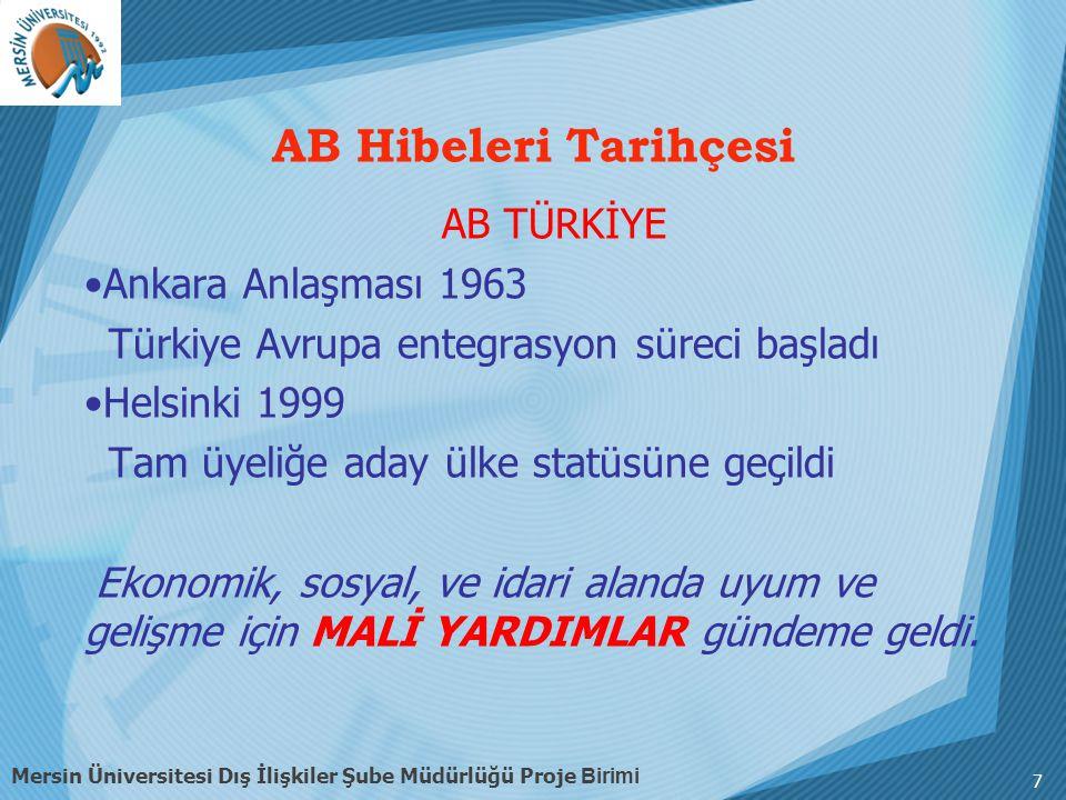 7 AB TÜRKİYE Ankara Anlaşması 1963 Türkiye Avrupa entegrasyon süreci başladı Helsinki 1999 Tam üyeliğe aday ülke statüsüne geçildi Ekonomik, sosyal, ve idari alanda uyum ve gelişme için MALİ YARDIMLAR gündeme geldi.