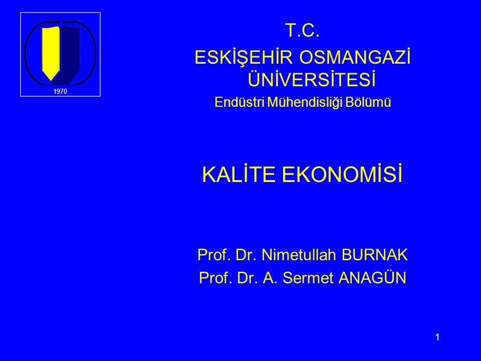1 T.C.ESKİŞEHİR OSMANGAZİ ÜNİVERSİTESİ Endüstri Mühendisliği Bölümü KALİTE EKONOMİSİ Prof.